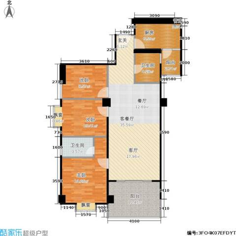 橡树园3室1厅2卫1厨134.00㎡户型图