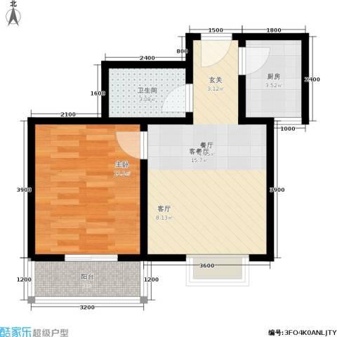 楼观古镇1室1厅1卫1厨46.00㎡户型图