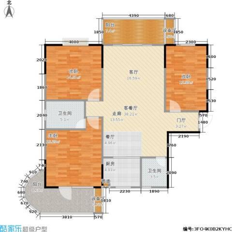 鑫天山城明珠3室1厅2卫1厨153.00㎡户型图