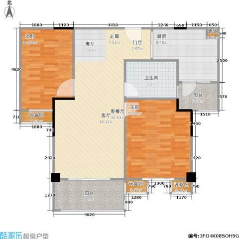 锦合天地2室1厅1卫1厨84.83㎡户型图