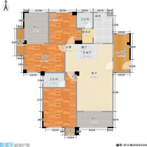 锦合天地3室1厅2卫1厨127.42㎡户型图