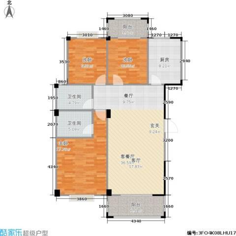 五里汉城3室1厅2卫1厨110.71㎡户型图