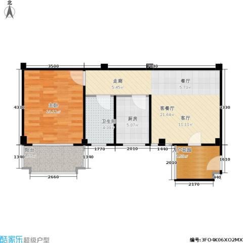五里汉城1室1厅1卫1厨59.46㎡户型图