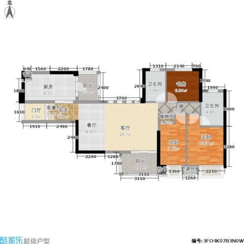 嘉宝华庭3室1厅2卫1厨109.00㎡户型图