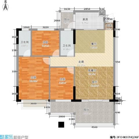 新天美地花园3室1厅2卫1厨114.00㎡户型图