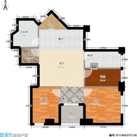 汇金国际公寓3室1厅1卫1厨109.00㎡户型图