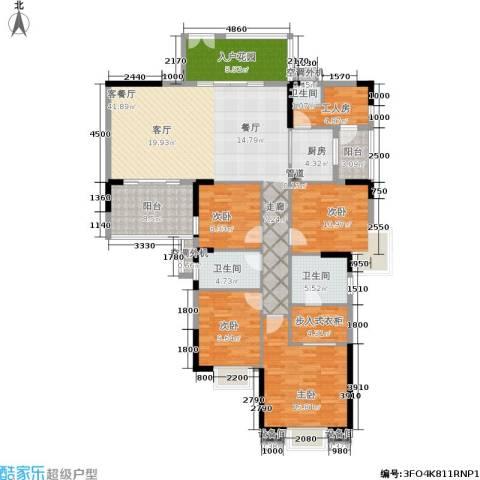 时代广场4室1厅3卫1厨190.00㎡户型图