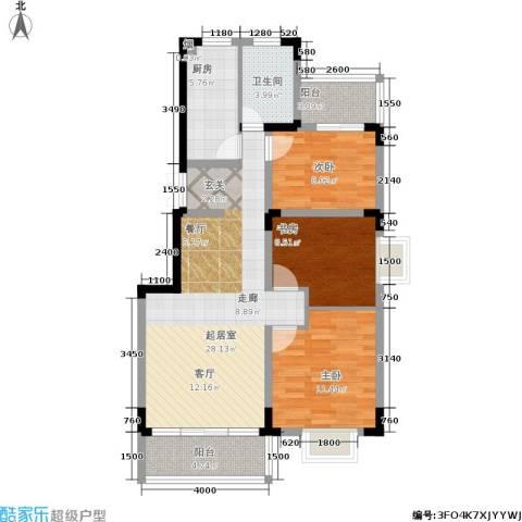 书院观邸3室0厅1卫1厨95.00㎡户型图