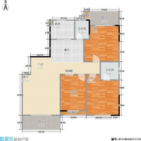 鑫天山城明珠3室1厅2卫1厨147.00㎡户型图
