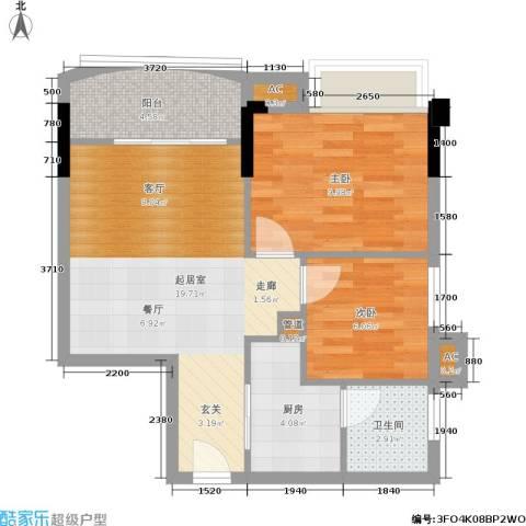 观澜湖上堤2室0厅1卫1厨56.00㎡户型图