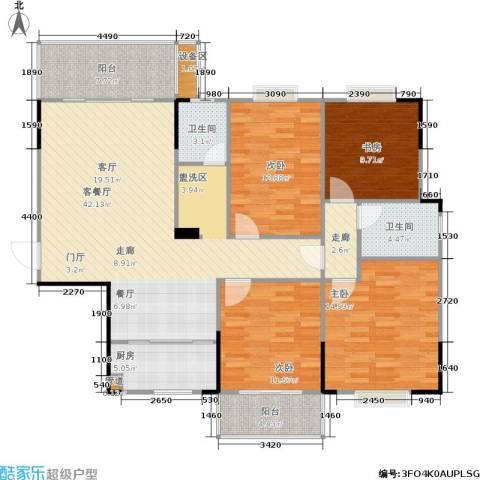 鑫天山城明珠4室1厅2卫1厨162.00㎡户型图