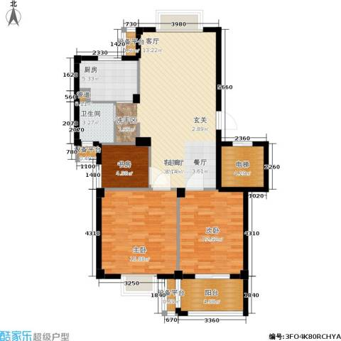 君悦龙庭3室1厅1卫1厨95.00㎡户型图