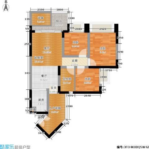 新德家园3室0厅1卫1厨80.00㎡户型图