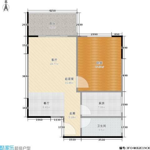 上林国际1卫1厨74.09㎡户型图