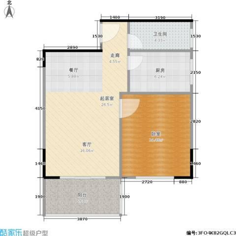 上林国际1卫1厨62.47㎡户型图