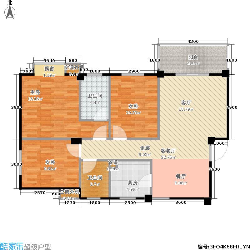 山水英伦105.39㎡C313三房两厅两卫户型