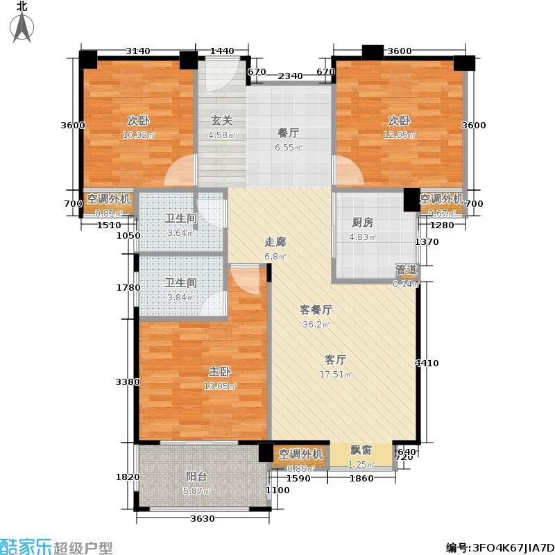 山水英伦101.62㎡012三房两厅两卫户型