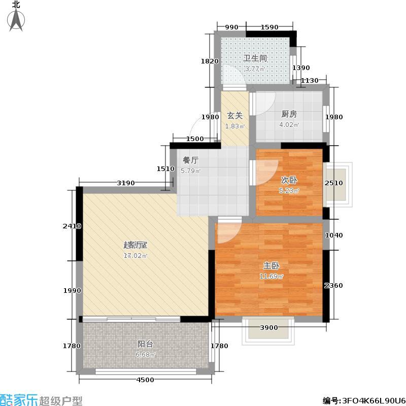 九龙领仕汇39-G户型二室二厅一卫户型