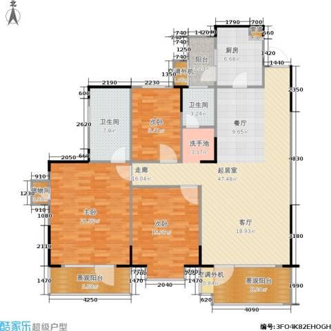 岳麓现代城3室0厅2卫1厨140.00㎡户型图