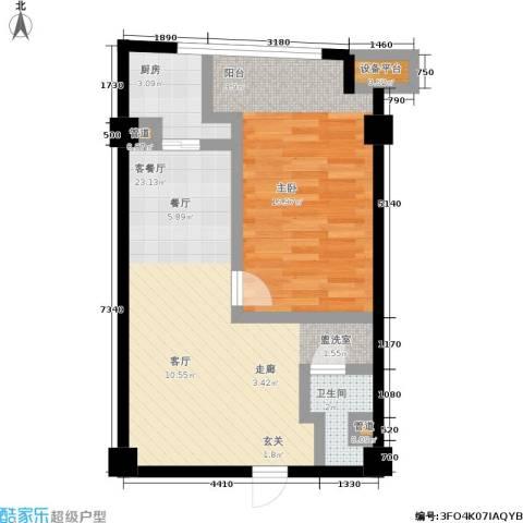 印象天心1室1厅1卫1厨69.00㎡户型图