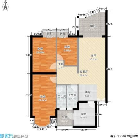 世纪佳园3室1厅2卫1厨131.00㎡户型图