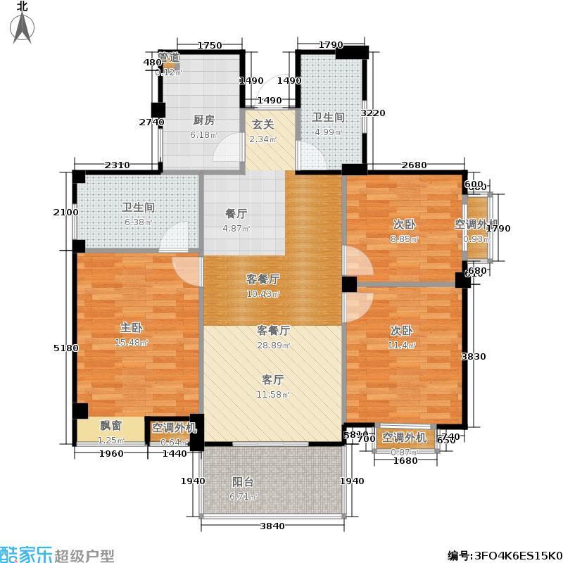 山水英伦108.27㎡c311三房两厅两卫户型