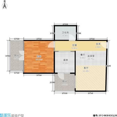 甘露晴苑1室0厅1卫1厨66.00㎡户型图
