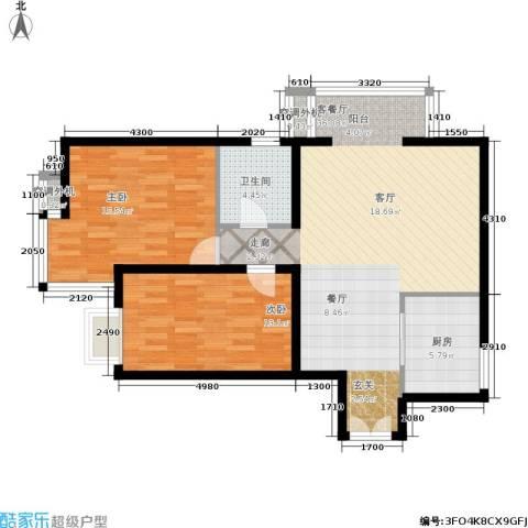 朝阳雅筑2室1厅1卫1厨104.00㎡户型图