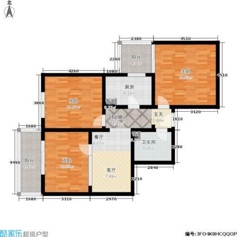 日月东华3室1厅1卫1厨100.00㎡户型图