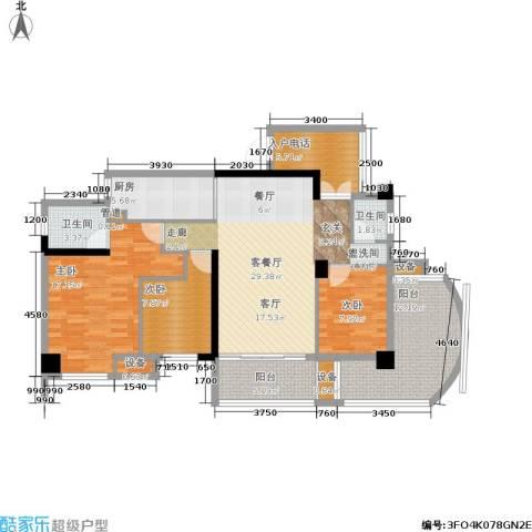 红区抽屉3室1厅2卫1厨115.00㎡户型图