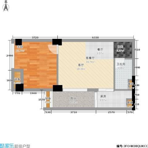 红区抽屉1室1厅1卫1厨54.00㎡户型图