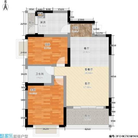 山水花都2室1厅1卫1厨99.00㎡户型图