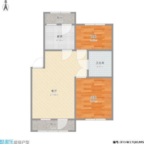 阳光舜城2室1厅1卫1厨48.64㎡户型图