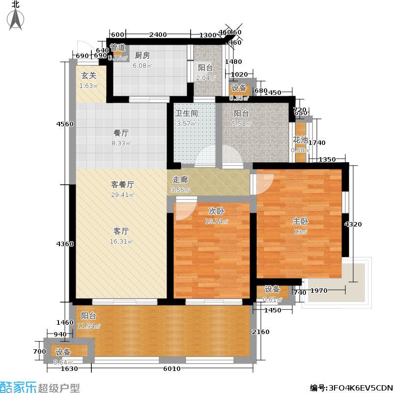 保利麓谷林语106.00㎡D1a户型两室两厅一卫户型2室2厅1卫