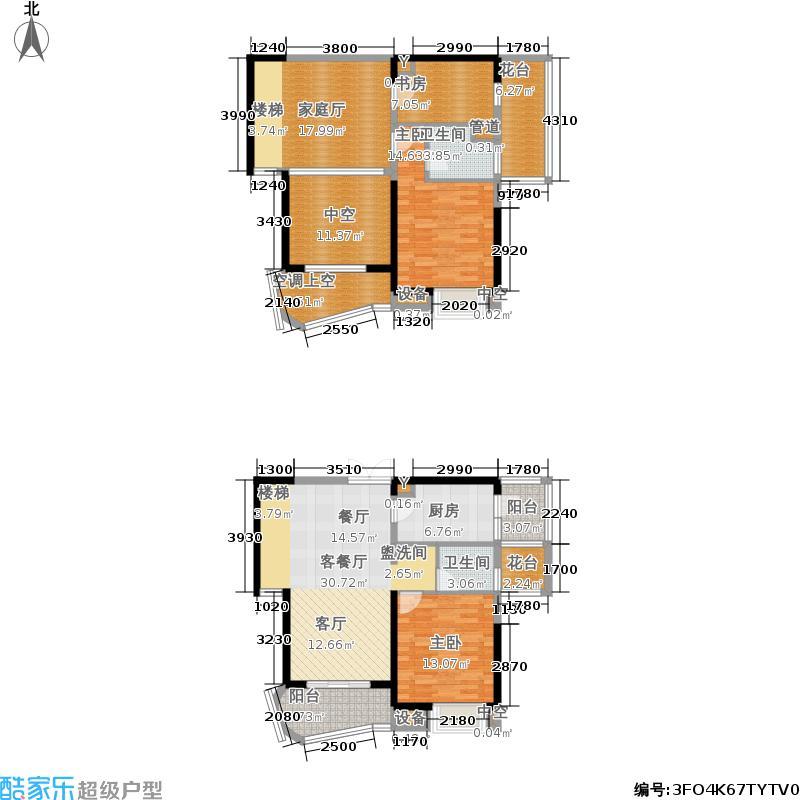 保利麓谷林语153.00㎡E4户型三室三厅两卫户型3室3厅2卫