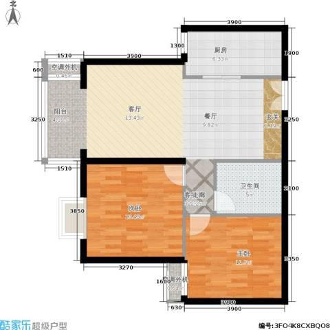 朝阳雅筑2室1厅1卫1厨93.00㎡户型图