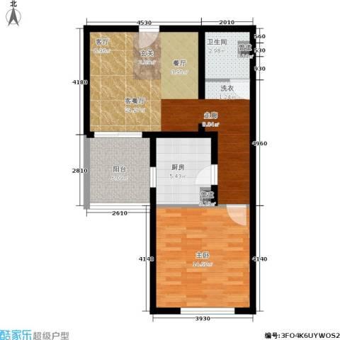 日月东华1室1厅1卫1厨62.00㎡户型图