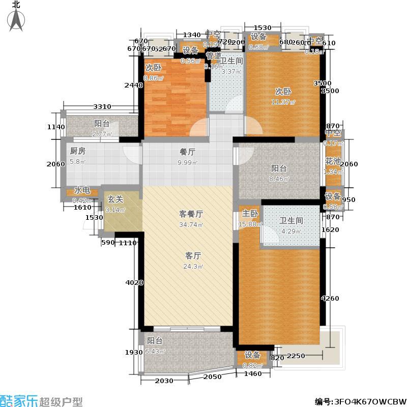 保利麓谷林语135.00㎡E3户型三室两厅两卫户型3室2厅2卫