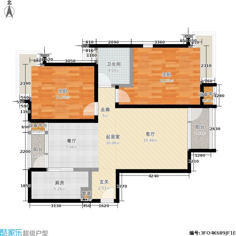 8哩岛89.00㎡8哩岛户型图N户型两室两厅一卫(8/8张)户型10室