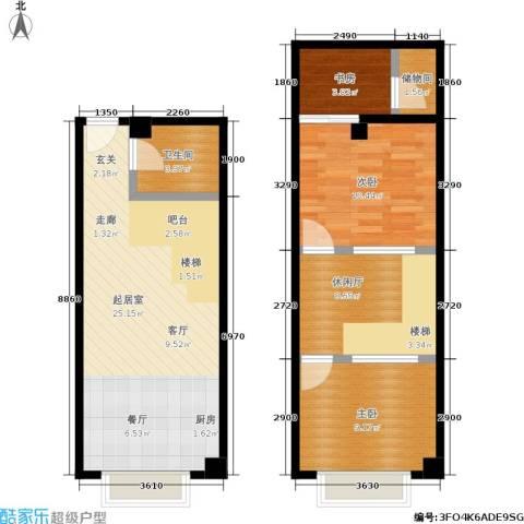 UP生活3室0厅1卫0厨62.15㎡户型图