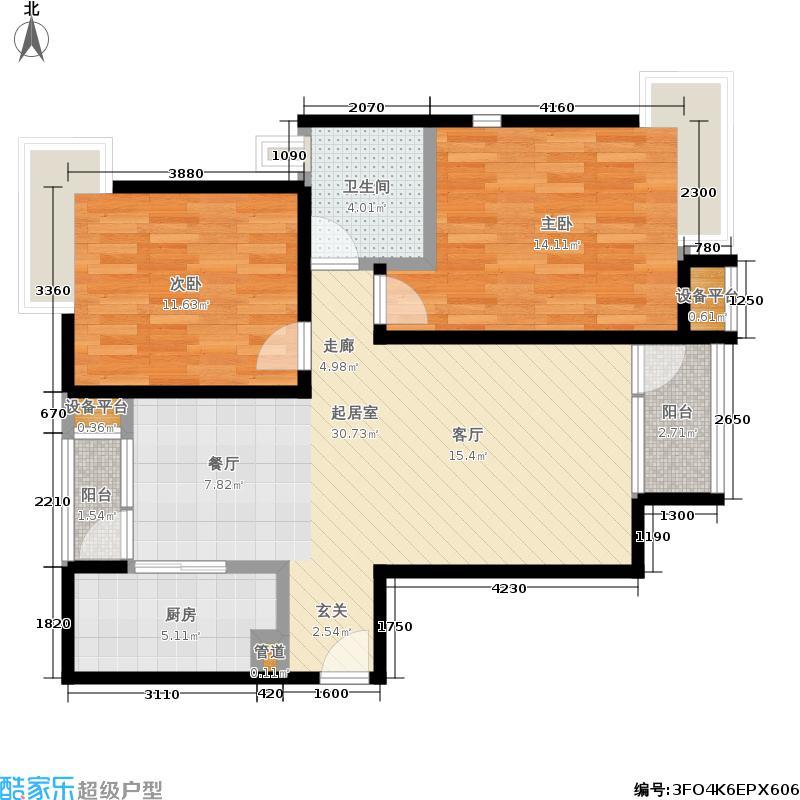 8哩岛89.00㎡8哩岛户型图N户型两室两厅一卫(3/8张)户型10室