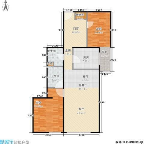 慧谷时空2室1厅2卫1厨100.00㎡户型图