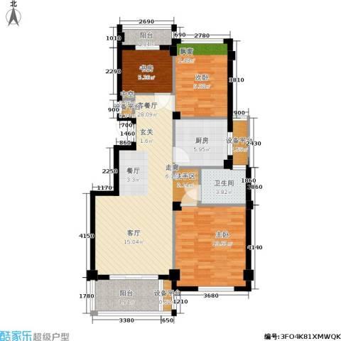 四季翠园3室1厅1卫1厨87.00㎡户型图