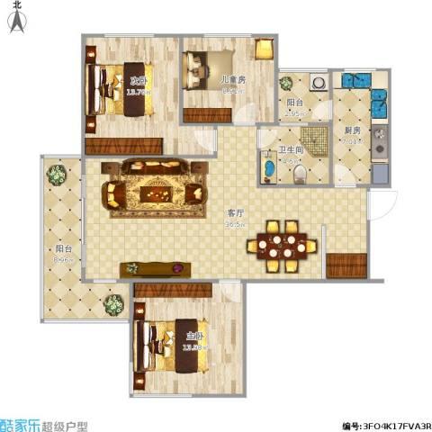 东湖大郡3室1厅1卫1厨130.00㎡户型图