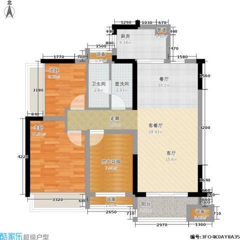 城市花园2室1厅1卫1厨102.00㎡户型图