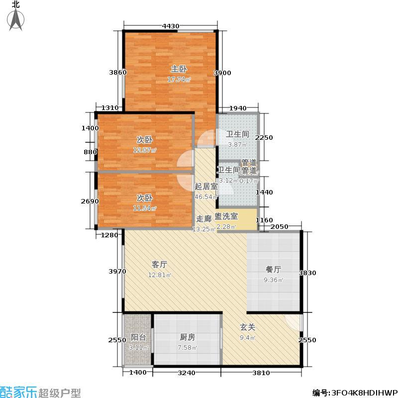 慧谷时空114.00㎡3室2厅2卫1厨户型