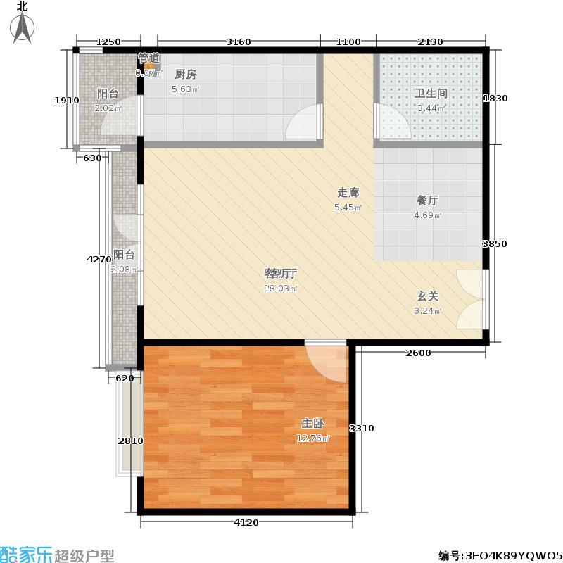 海悦名门一室两厅一卫 户型