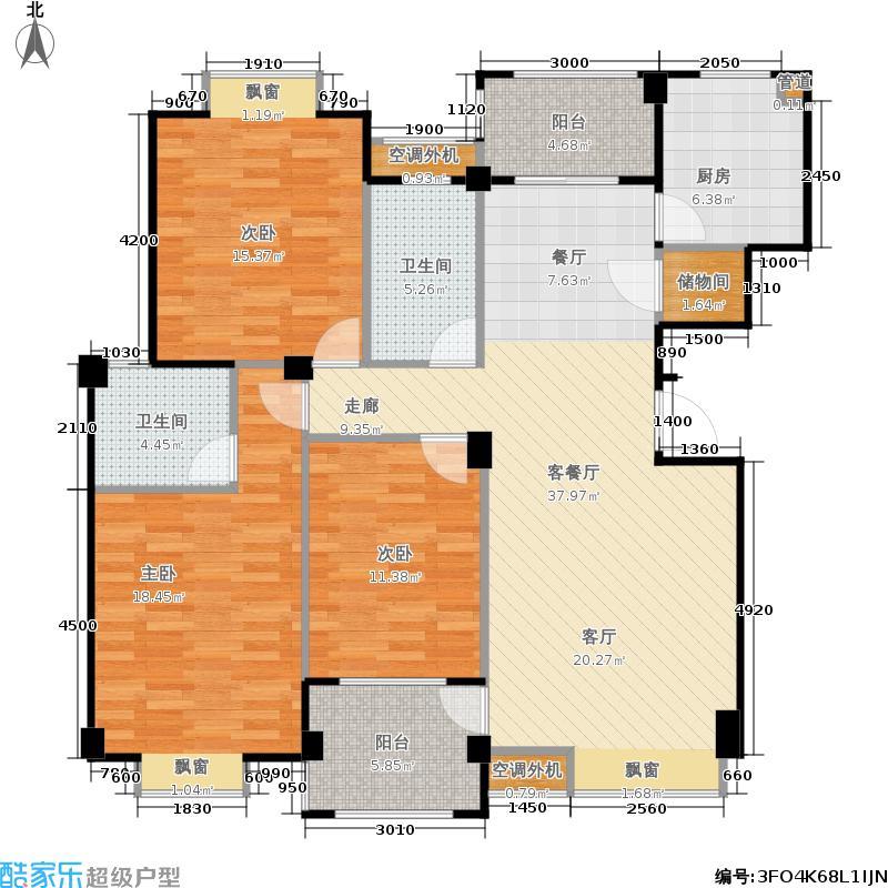 山水英伦126.43㎡C315三房两厅两卫户型