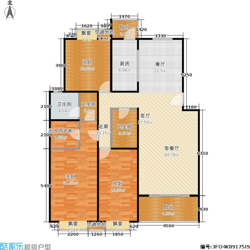 柏阳景园B9三室两厅两卫户型