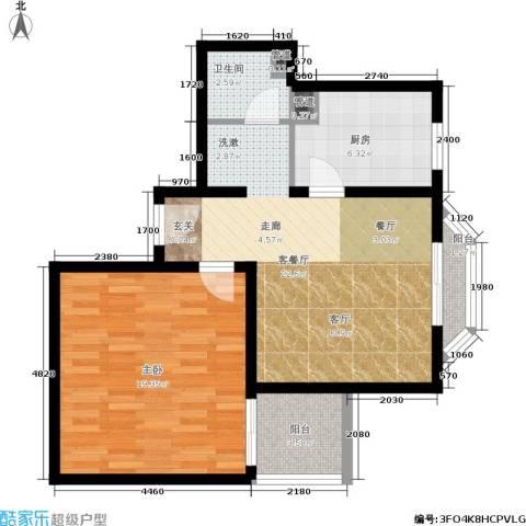 日月东华1室1厅1卫1厨65.00㎡户型图
